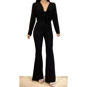 Zara Black Tie Front Long Sleeve Flared Jumpsuit
